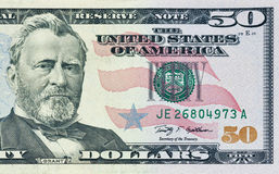 Fifty dollars bill fragment Stock Image