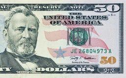 Fifty dollars bill fragment Stock Image