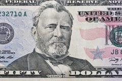Fifty dollars bill fragment closeup Stock Photography