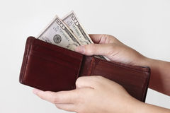 Fifty dollars in purse Royalty Free Stock Photo