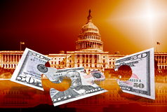 Fifty dollars puzzle on capitol background Stock Photography