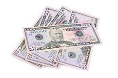 The fifty dollars  on white Stock Photos
