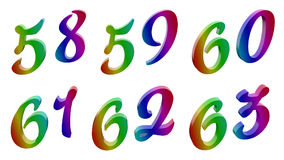 Fifty eight, Fifty nine, Sixty, Sixty one, Sixty two, Sixty three, 58, 59, 60, 61, 62, 63 Calligraphic 3D Rendered Digits, Numbers. Fifty eight Fifty nine Sixty Royalty Free Illustration