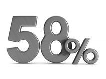 Fifty eight percent on white background. Isolated 3D illustratio Royalty Free Stock Photo