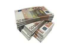Fifty euro. Bundles of euro notes isolated over white Stock Photo