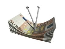 Fifty euro. Bundles of euro notes isolated over white Stock Images