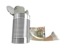 Fifty euro. Bundles of euro notes isolated over white Royalty Free Stock Image
