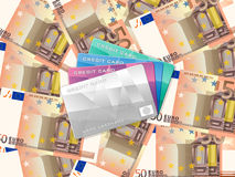 Fifty euro background and credit card. Credit cards on fifty euro banknotes background Royalty Free Stock Images