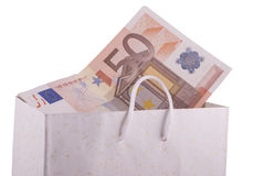 Fifty euro in bag. Fifty euro in paper bag Royalty Free Stock Images
