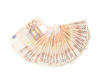 Fifty euro bank notes arranged like a fan Stock Image