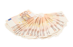 Fifty euro bank notes arranged like a fan Royalty Free Stock Image
