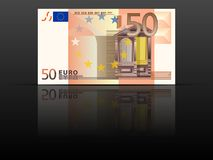 Fifty euro banknote. On a black background Stock Image
