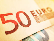 Fifty euro banknote. Close up of a 50 euro banknote Royalty Free Stock Photography