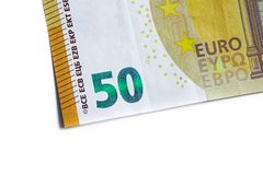Fifty euro banknote,Euro currency money isolated on white backgr Stock Image