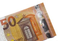 Fifty euro banknote,Euro currency money  on white backgr Royalty Free Stock Photography