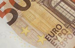 Fifty euro banknote detail. Macro shot Royalty Free Stock Images