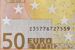 Fifty Euro banknote fragment closeup Royalty Free Stock Photography