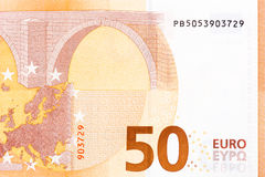 Fifty euro banknote macro fragment, back side. Royalty Free Stock Photo