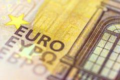 Euro Banknote in a macro shot. Fifty Euro Banknote in a macro shot Stock Photo