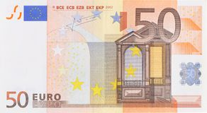 Fifty euro banknote. One fifty euro banknote. Close up. Clean Royalty Free Stock Photos