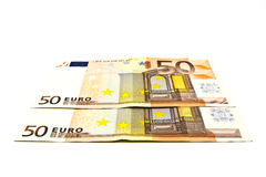 Fifty euro banknote. On a white background Royalty Free Stock Image