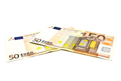 Fifty euro banknote. On a white background Royalty Free Stock Photos