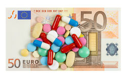 Fifty euro banknote whith pills on it Royalty Free Stock Image