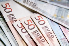 Fifty euro banknotes Stock Images