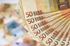 Fifty euro banknotes Royalty Free Stock Photos