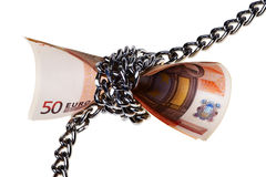Fifty Euro banknotes chained. Stock Photos
