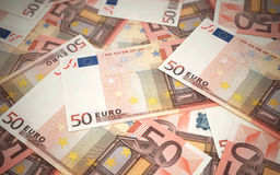 Fifty Euro banknotes. 3d render Fifty Euro banknotes stacks (depth of field Royalty Free Stock Photos