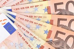 Fifty euro banknotes. Several fifty euro banknotes. Whole background. Close up Stock Photo