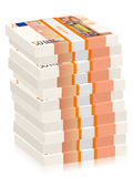 Fifty euro banknotes stacks. On a white background Stock Images