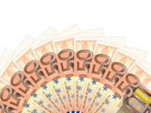 Fifty euro banknotes. Fifty banknotes on a white background Stock Photos