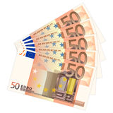 Fifty euro banknotes. Fifty banknotes on a white background. Vector illustration Stock Images