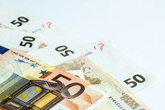 Fifty Euro banknotes royalty free stock image