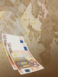 Fifty euro bill collage in warm tone Stock Photography