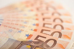 Fifty Euro bills Stock Photos
