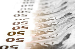Fifty euro bills stacked in a row Stock Photography
