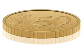 Fifty euro cent. Euro coin on white background Stock Photography