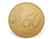 Fifty euro cent coin. On a white background Royalty Free Stock Images