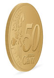Fifty euro cent. Coin on a white background Stock Images