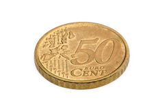 Fifty euro cents coin isolated on white background Royalty Free Stock Image
