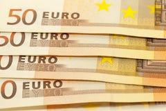 Fifty euro, close-up Stock Photos