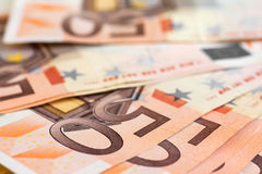 Fifty euro closeup Stock Images