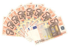 Fifty Euro Fan. Fan of a lot of fifty euro isolated on white background Royalty Free Stock Images
