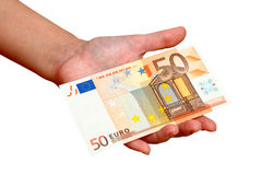 Fifty euro in hand Royalty Free Stock Photography