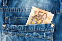 Fifty euro in jeans pocket Royalty Free Stock Images