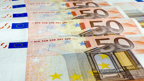 Fifty Euro money background Stock Photo