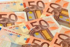 Fifty euro nominal banknotes. Lying mixed background Stock Images